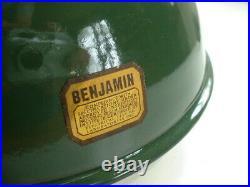 10 Benjamin Gooseneck Green Porcelain Sign Light Industrial Gas Station Vintage