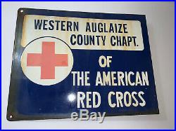 14 Rare Vintage Original American Red Cross Double Sided Porcelain Adv. Sign