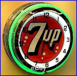 19 7UP Vintage Sign Double Green Neon Clock Mancave Bar 7 UP
