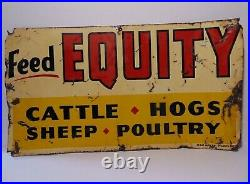 19 Rare Old Vintage 1950s EQUITY FEED METAL FARM SIGN CATTLE HOGS SHEEP POULTRY