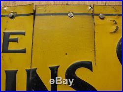 1910s EC ATKINS CROSSCUT SAW SIGN 7x14 Embossed Tin/Steel LOGGING VTG ANTIQUE