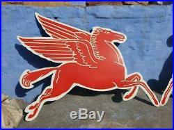 1940 Old Vintage Very Rare Horse Pair Mobil Gas Oil Porcelain Enamel Sign Board