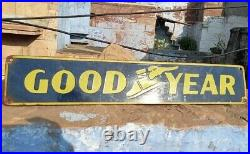 1940's Old Vintage Rare Goodyear Tire Ad Porcelain Enamel Sign Board Collectible