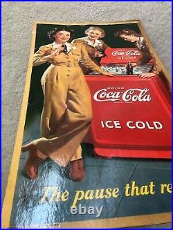 1943, Vintage, ORIGINAL, Coke, Coca-Cola, Cardboard Sign, WWII era, VG Condition