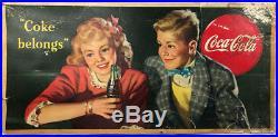1944 Coca Cola Cardboard Sign Classic Coke Vintage Americana Advertising