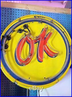 1950's Original Vintage Porcelain OK Neon Service Sign 24 In Diameter