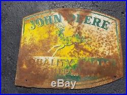 1950s John Deere Quality Farm Equipment 2 Sided Sign Dealer Tractor Vintage Old