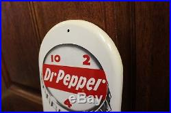 1950s Vintage Dr Pepper Soda Advertising 10-2-4 Tin 16 Thermometer Sign