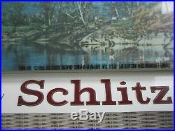 1958 Vintage Schlitz Lighted Beer Advertising Sign Form 548 Farm Scene Red Barn