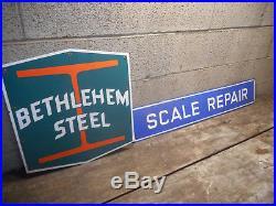#2- Vintage Bethlehem Steel Porcelain Signs Logo & Scale Repair