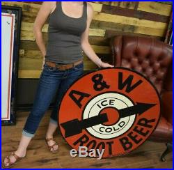 3' RARE Vintage 1950's A&W Root Beer Restaurant Soda Pop Gas Oil Metal Sign