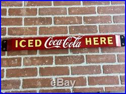 32X 3 COCA-COLA PORCELAIN DOOR PUSH BAR ADVERTISING SIGN. SODA, Pop, VINTAGE