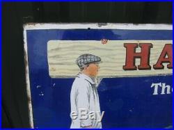39805 Old Antique Vintage Enamel Sign Hall's Distemper paint tin can Art Deco