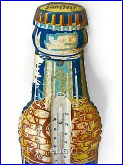 50s Vintage Sun Crest Pressed Tin Not Porcelain Bottle Thermometer Sign WORKS