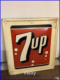 7UP Vintage Authentic Metal Sign Antique 7 UP Stout 1961 Soda Pop Advertising