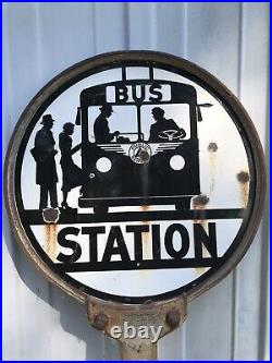 ANTIQUE DOUBLE PORCELAIN enamel advertising SIGN BUS STOP PUBLIC SERVICE