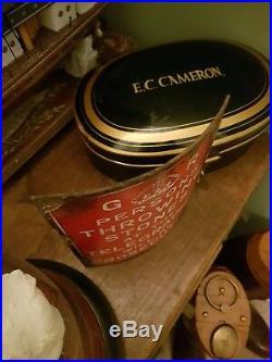 Antique Enamel Telegraph London City Sign Red Interior Design Curio vintage
