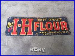 Antique FLOUR TIN SIGN Embossed Advertising ISMERT HINCKE I-H MILLING CO Vintage