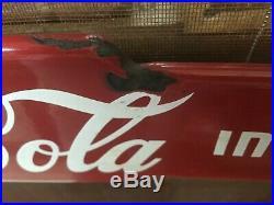 Antique Metal Porcelain Coca Cola Door Pull Push 2 Sided Vintage