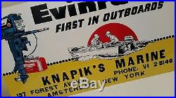 Antique Vintage Heavy Embossed Tin Evinrude Sign NOS 25 1/2 X 14 1/2 inches