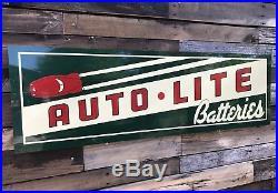 Antique Vintage Old Style Auto Lite Batteries Service Station Gas Oil Sign