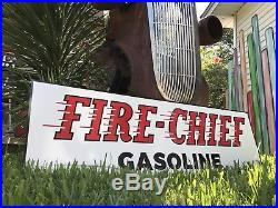 Antique Vintage Old Style Fire Chief Texaco Sign Great Size