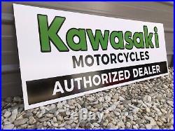 Antique Vintage Old Style Kawasaki Dealer Sign Restocked