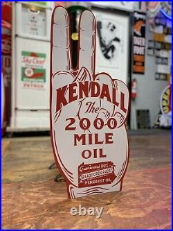 Antique Vintage Old Style Kendall Motor Oil Hand Sign