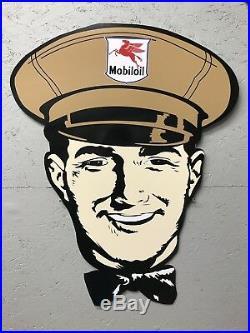 Antique Vintage Old Style Mobil Gas Oil Service Station Man Sign