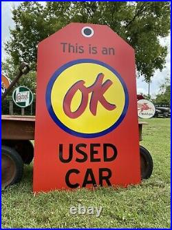 Antique Vintage Old Style OK Used Cars Tag Sign