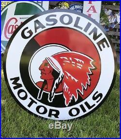 Antique Vintage Old Style Red Indian Motor Oil Sign! 40