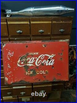 Antique Vintage Original American COCA COLA Coke Sign Red Iconic adverting