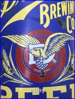 Antique Vtg 1890s DETROIT BREWING CO Curved Porcelain Beer Advertising Sign RARE