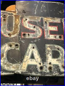 Big Vintage Neon Used Cars Sign Double Sided