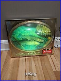 Budweiser Beer Lighted Fish Sign 3d Bubble Vintage Bar Advertisment