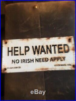 Cast Iron Help Wanted No Irish Need Apply Salem, Ma Vintage Sign Plaque