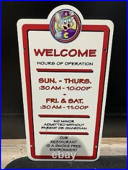 Chuck E Cheese Vintage Welcome Hours Of Operation Sign Art Showbiz Pizza Place