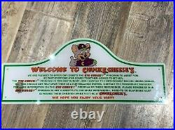 Chuck E Cheese Vintage Welcome To Kid Check Sign Art Showbiz Pizza Place Rare