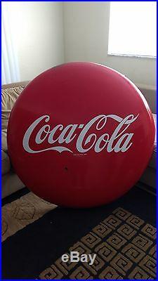 Coca Cola Button Pop Sign Vintage 1950's 48 Metal/Porcelain Original