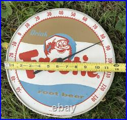 DRINK FROSTIE ROOT BEER Vintage Soda Advertising Thermometer Sign Elf Gnome