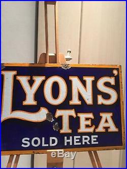 Enamel Sign Lyons Tea Antique Advertising Original Old Rare Collectable Vintage