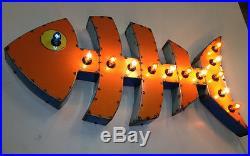Fish Bones Vintage Industrial Metal Sushi Restaurant Bar Seafood Sign Lite Beach