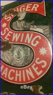 Genuine Old Vintage Enamel Advertising Sign, Singer Sewing Machines Kettering