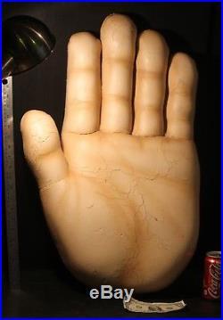 HAND GIANT OVERSIZE advertising sign VINTAGE store display HUGE 28 foam rubber