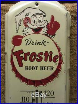 HUGE 1950s Vintage Frostie Root Beer Thermometer Sign Antique 9925