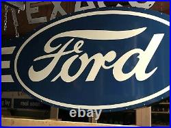 HUGE! Vintage FORD Double Sided SIGN Car Truck DEALERSHIP Dealer MANCAVE Garage