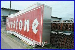 HUGE Vintage Metal Bowtie Firestone Tire Sign Double Sided Neon 30