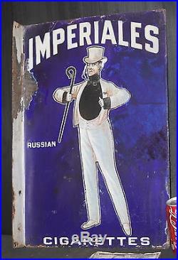 IMPERIALES porcelain flange sign vintage 1920's tobacco CIGARETTES top hat cane