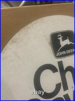 JOHN DEERE Vintage Dealer Chainsaw Sign Rare Tractor Gas Oil Advertising