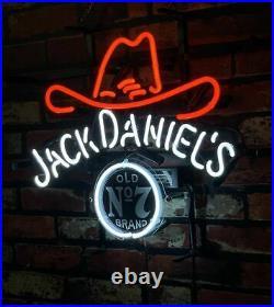 Jack Daniel's Neon Sign Light Man Cave Vintage Decor Real Glass Custom17''x14'